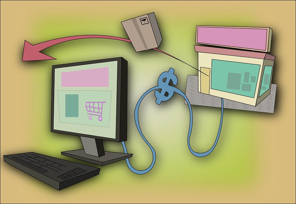 Illustration af webshop