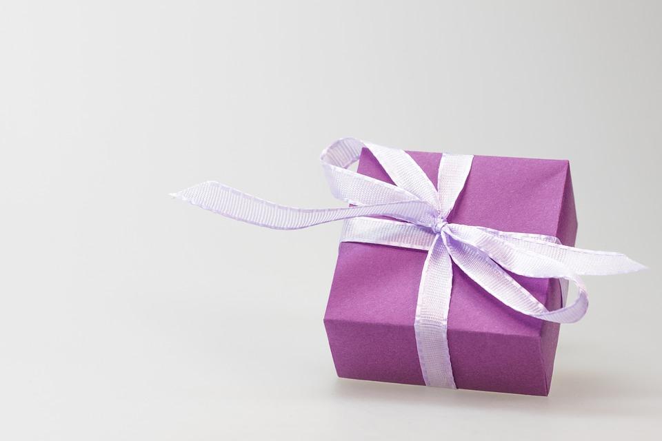 pakke, sløjfe, bånd, lyserød, fødselsdag, jul, konfirmation